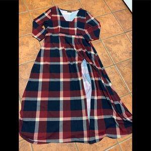 Reborn plaid maxi dress with slit 1X